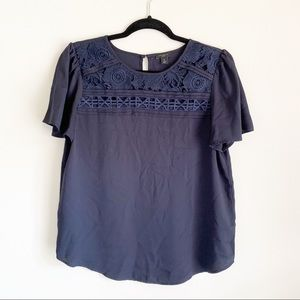 Ann Taylor Lace Short Sleeve Navy Blouse